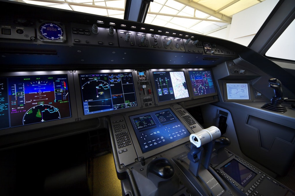 Airplane dashboard of a modern aircraft Irkut MS-21. Modern airplane dashboards & panels require a significant amount of electrically conductive silicone seals to comply with electromagnetic interference. Photo - Oleg Belyakov