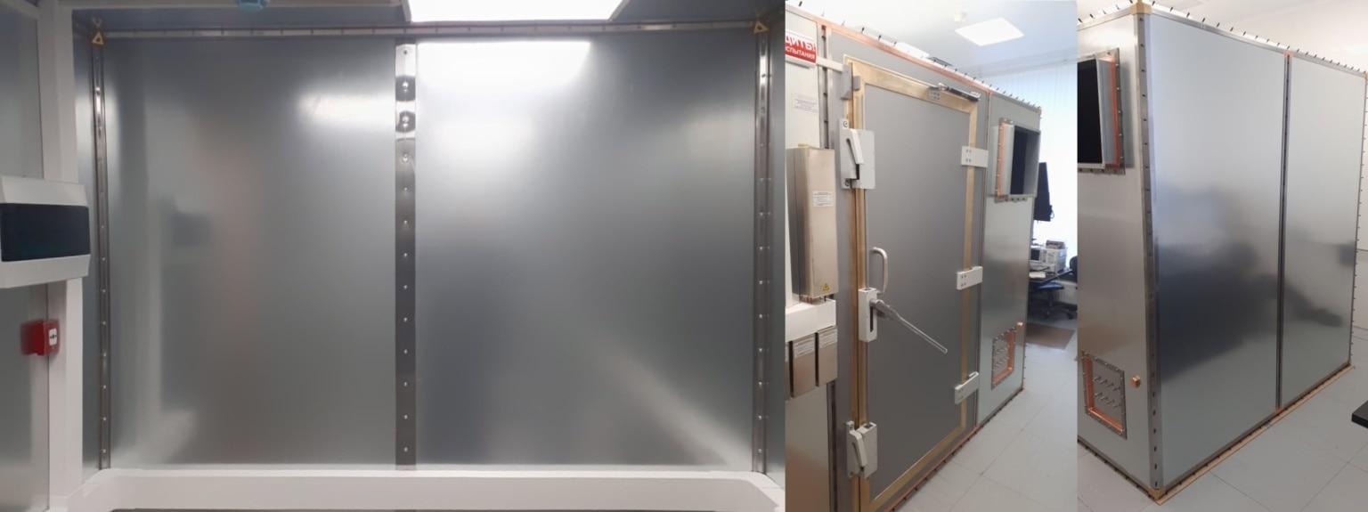 Экранирующая камера производства компании ТЕСАРТ - I класс ГОСТ 30373-95 (Оборудование для испытаний. Камеры экранированные). Для соответствия строгим параметрам ГОСТ в данных камерах используются ЭМС материалы ЗИПСИЛ от компании РТ-Технологии.