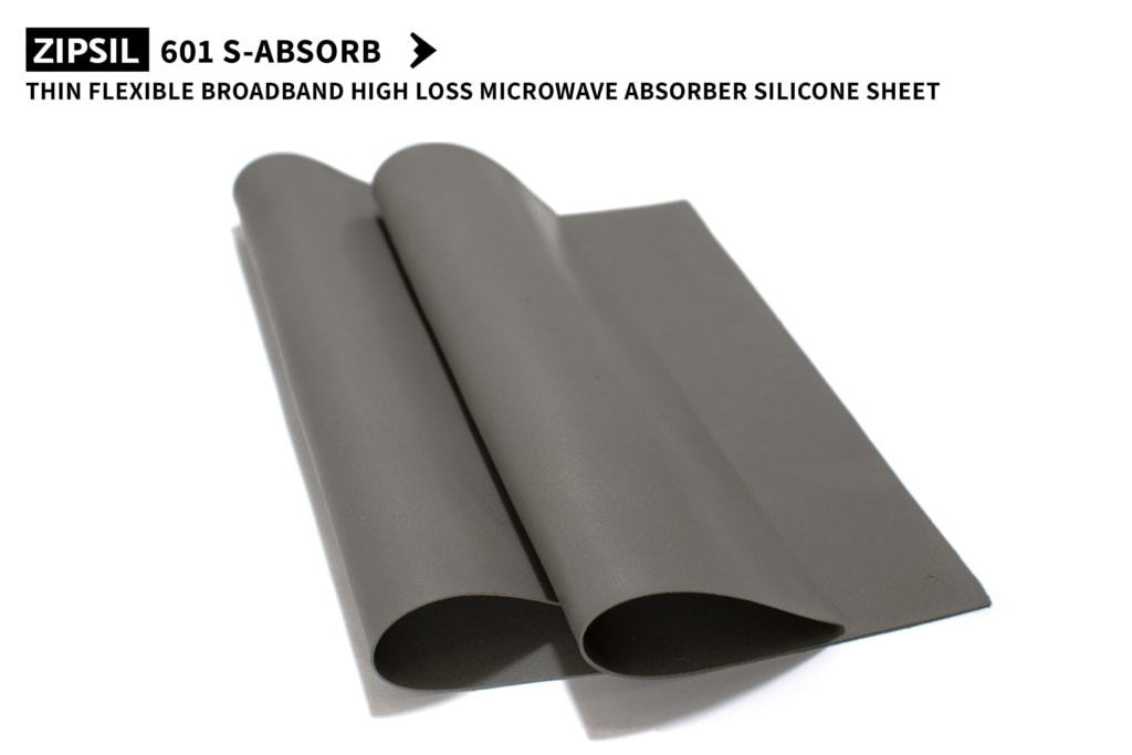 Thin flexible broadband high loss heat resistant Microwave Absorber Silicone Rubber Sheet ZIPSIL 601 S-ABSORB 250x250x0.8mm (Part Number: 601-250250-08)