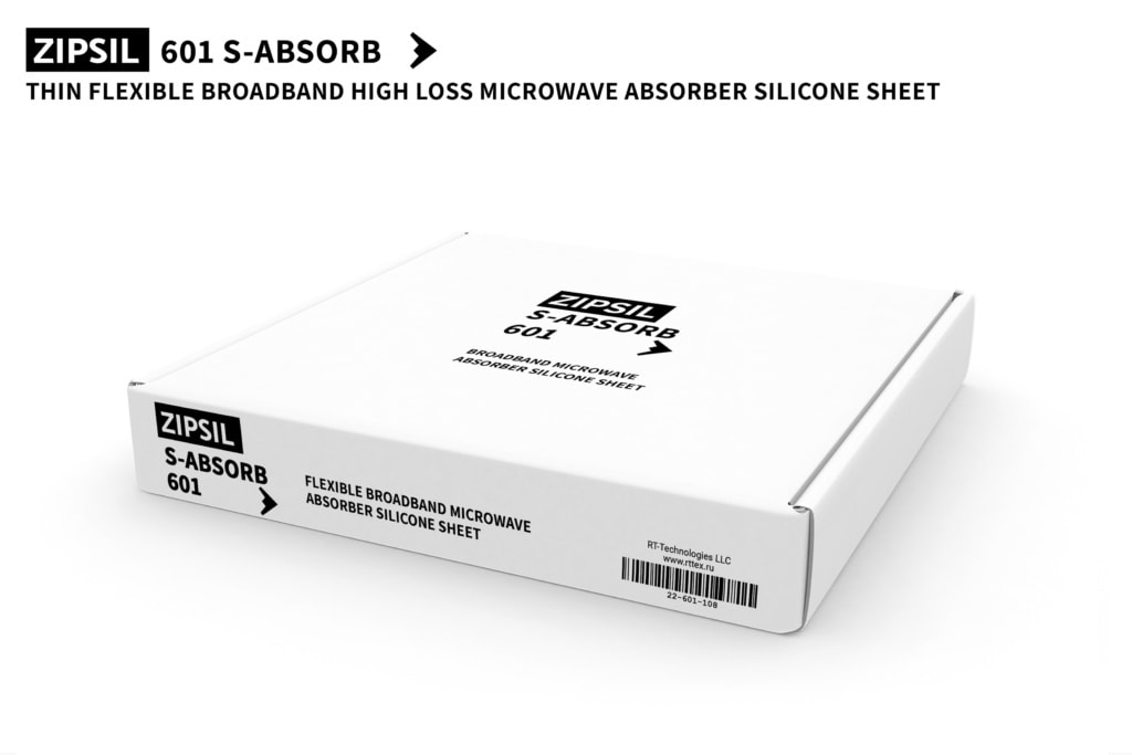 The retail box for flexible broadband high loss heat resistant Microwave Absorber Silicone Rubber Sheet ZIPSIL 601 S-ABSORB. Sheet dimensions: 250 x 250 x 0.8 mm (Part Number: 601-250250-08)