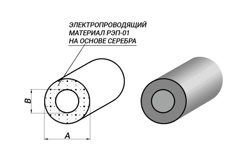 Полый токопроводящий эластомер круглый O-образный профиль для ЭМС