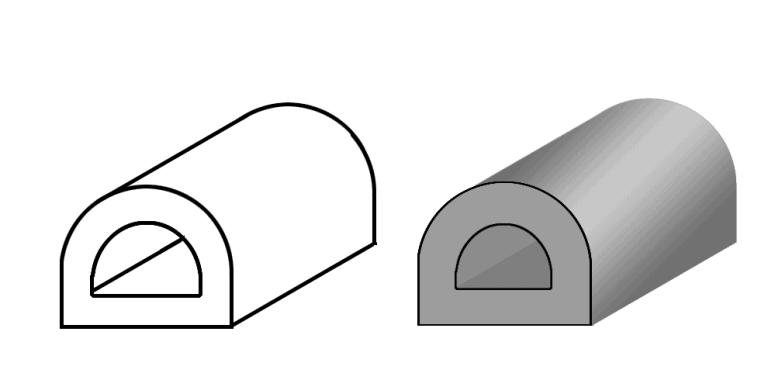 Пустотелый цельнотянутый электропроводящий эластомер D-профиль