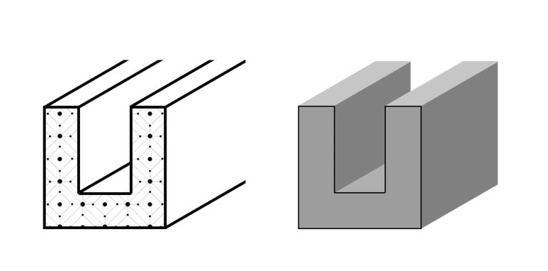 Сплошной электропроводящий эластомер U-профиль